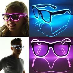 2015 Fashion Shutter Light Up El Wire Glow Shades EDM EDC Rave Party Bar Eyeswear Accessory Sunglasses Music-Box