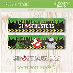 Use these free printable Ghostbusters water bottle labels to match bottled water and drinks to your Ghostbusters themed birthday celebration. Beer Packaging, Design Packaging, Label Design, Package Design, Design Design, Graphic Design, Ghostbusters Birthday Party, Ghostbusters Theme, 80th Birthday