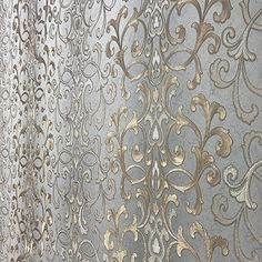Embossed modern Slavyanski wallcovering roll victorian pattern Vinyl Non-Woven Wallpaper grey gray silver gold bronze metallic textured stripes wall decor 3D damask paste the wall only vintage style