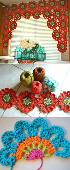 Crochet Flower Patterns Crochet Flower Power Valance Free Pattern - You will love these Crochet Flowers Free Patterns that we have put together for you. Check out all the incredible ideas now and Pin your favourites. Crochet Home, Love Crochet, Crochet Motif, Crochet Crafts, Crochet Stitches, Crochet Projects, Crochet Yarn, Crochet Coaster, Simple Crochet