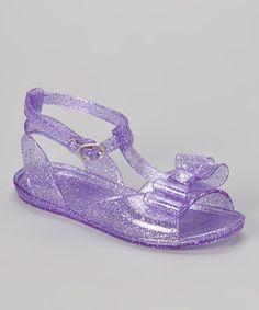 Look at this #zulilyfind! Purple Glitter Bow Jelly Sandal by Chatties #zulilyfinds