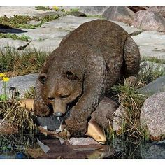 Grizzly Bear Fishing Sculpture Statue Garden Ornament Lawn Patio Angling Salmon