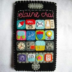 This is is a custom handmade iPhone sleeve with the name sew on it. I can sew on your name, icon, app, special date, etc. Message me your personalize request or enquiry. Handmade with lots of handmade love. ❤
