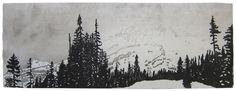 Eva Pietzcker. Mt. Rainier. 2011. Japanese woodblock print image (moku hanga)