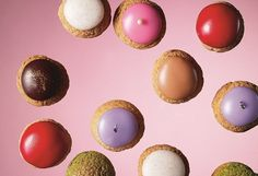 mini choux (chocolate, coffee, vanilla, rose, caramel, pistachio...) from Arnaud Delmontel