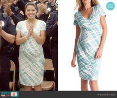 Jane's aqua printed wrap dress on Jane the Virgin.  Outfit Details: http://wornontv.net/48621/ #JanetheVirgin