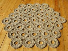 Crochet jute rug / hexagon / 37 in / 100% naturals materials