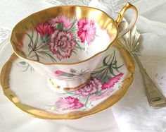 Mid Century Queen Anne English Bone China Wide Mouth Teacup & Saucer Duo Tea Party - c. 1959 - 1966