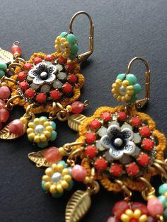 Blooming Beaded Garden Boho Earrings - Gypsy chic hippie earrings - Hippie Floral earrings. €50.00, via Etsy.