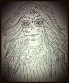 Sugar skull girl, love drawing these ladies, very different!