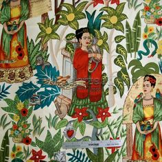 FRIDAS GARDEN printed fabric from the Folklorico Collection by Alexander Henry in the color TEA is a tribute to 20th century Mexican artist Frida Kahlo.
