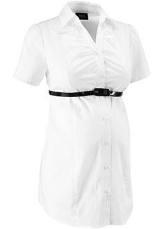 Umstandsbluse mit Gürtel weiß jetzt im Online Shop von bonprix.de ab € 24,99 bestellen. Diese Kurzarm Business-Bluse mit Elastikband im Rücken und langer ...