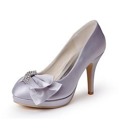 Tasteful Satin Closed Toe Platform Pumps with Bowknot and Rhinestone Wedding Shoes – USD $ 79.99