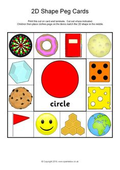 Print, cut out and laminate these cards for children to place clothes pegs on the shape pictures that match the shape in the centre. Preschool Learning Activities, Preschool Worksheets, Toddler Activities, Preschool Activities, Shapes Flashcards, Shapes Worksheets, Free Kids Coloring Pages, Maths Paper, Shapes For Kids