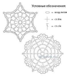 Crochet Diagram, Crochet Motif, Knit Crochet, Crochet Patterns, Crochet Stars, Crochet Snowflakes, Thread Crochet, Doilies, Christmas Crafts