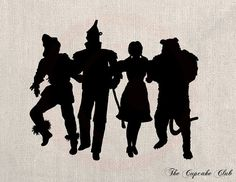 Wizard Of Oz Silhouette - Dorothy - Tin Man - Scarecrow - Lion - Dictionary Print Vintage Book Page Broadway, Yellow Brick Road, Tin Man, Trunk Or Treat, Silhouette Art, Girls Camp, Over The Rainbow, The Wiz, Diy Scrapbook