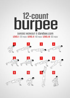One burpee to beat them all. This is a super-set of the classic burpee exercise. The twelve-step program to the perfect burpee set can be practiced anywhere you have a little bit of floor space, making this the perfect exercise routine to have with...