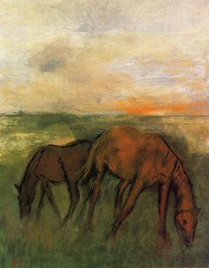 Two Horses in a Pasture, Edgar Degas  Size: 45.1x35.5 cm  Medium: oil on canvas