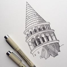 Constructed in this medieval tower was the tallest structure in Istanbul for centuries. Love how the tower still dominates the skyline from the Golden Horn. Urban designers from around the world could learn a thing or tw Copic Drawings, Pencil Art Drawings, Drawing Sketches, Architecture Drawing Sketchbooks, Architecture Collage, Ant Drawing, Medieval Tower, Turkish Art, Sketch Painting