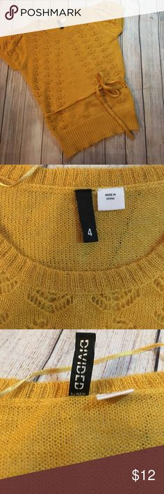 H&M  crochet shirt/blouse size 4💞 New no tags, size 4. Super cute design💕 mustard color, you can remove the lace of you want . H&M Tops Tees - Short Sleeve
