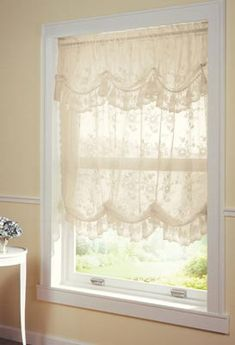Allison Balloon Lace Curtain and Valance, Ivory, Machine Washable French Curtains, Elegant Curtains, Shabby Chic Curtains, Cheap Curtains, Drop Cloth Curtains, Burlap Curtains, Country Curtains, Cafe Curtains, Colorful Curtains