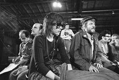 Actors Peter Boyle, left, Jane Fonda, center, and Donald Sutherland Fayetteville, North Carolina 1971
