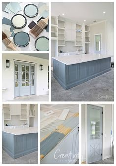 We're sharing easy tips for how to create a custom paint color mix for your walls, cabinetry and exterior. Mixing Paint Colors, Paint Colors For Home, Color Mixing, Blue Gray Kitchen Cabinets, Kitchen Cabinet Colors, Home Renovation, Home Remodeling, Accent Wall Colors, Blue Wall Colors