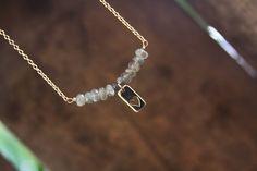 Dainty Bronze Labradorite Charm Necklace Bronze by DlightedJewelry