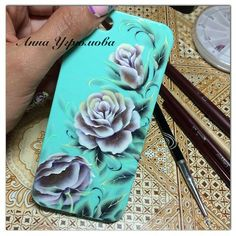 ☺ One Stroke Painting, Acrylics, Flower Art, Arts And Crafts, Iphone Cases, Butterfly, Nail Art, Nails, Floral