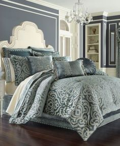 J Queen New York J. Queen New York Sicily Teal California King Comforter Set - Bedding Collections - Bed & Bath - Macy's Teal Comforter, Queen Comforter Sets, Teal Bedding Sets, Navy Bedding, King Size Bedding Sets, Damask Decor, Queens New York, Bedroom Styles, Bedding Collections