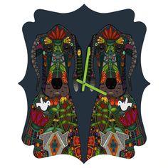 Sharon Turner Great Dane Love Quatrefoil Clock | DENY Designs Home Accessories #denydesigns #sharonturner #dog #greatdane #clock #home #botanical #flowers #illustration