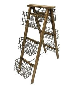 Look what I found on #zulily! Wire Basket Wood Ladder Organizer #zulilyfinds