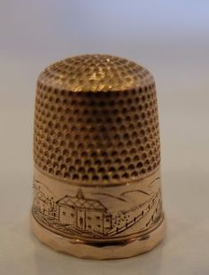 Antique-14K-Rose-Gold-4-6-Grams-Size-9-Engraved-Tower-Country-Scene-H-Muhr-Sons