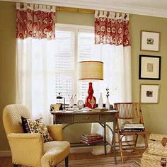 Upsize Your Windows    How to do it: Make small windows look larger by hanging drapes at ceiling height.     Estimated cost: Pair of 108-inch Brimfield 4-in-1 Panel Drapes in Carafe, ; JCPenny