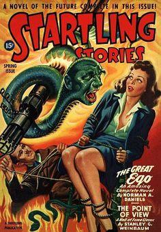 Vintage Sci Fi Poster Startling Stories 15c Great Ego