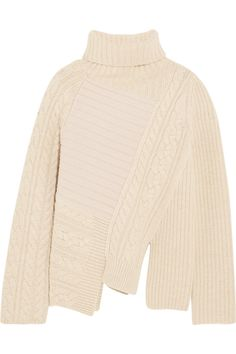 Joseph | Asymmetric contrast-knit wool turtleneck sweater | NET-A-PORTER.COM