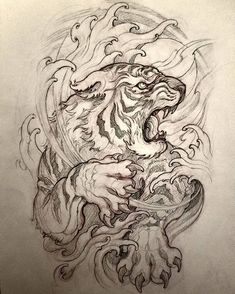 You are in the right place about lion tattoo Here we offer you the most beautiful pictures about the tattoo … Tiger Tattoo Design, Tattoo Design Drawings, Tattoo Sleeve Designs, Tattoo Sketches, Sleeve Tattoos, Tiger Design, Irezumi Tattoos, Kunst Tattoos, Bild Tattoos