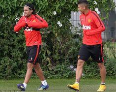 Falcao and Rojo at training