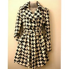 Houndstooth Coat -Houndstooth Coat-  Size : Large Detachable waist belt Color: Black & White Shoulder to shoulder: 18 inches Bust: 42 inches Coat length: 34.5 inches  Material: Wool/Poly blend Full lining Side pockets Collared neck  Brand New! Last one! Jackets & Coats Pea Coats