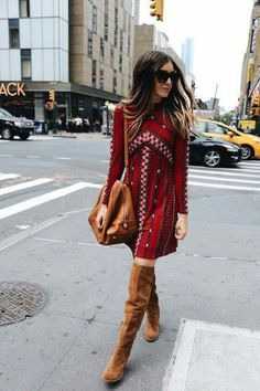 Love this dress with OTK boots!