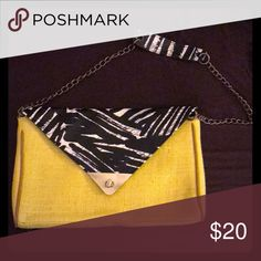 Artistic Style Purse Yellow woven fabric, chain strap, faux leather abstract black/white/gray print. Never used. I loved this when I saw it, bought it for $39.99, and never wound up wearing it! Mossimo Supply Co. Bags Shoulder Bags