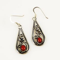 Red Coral Native American Earrings Native American Earrings, Coral Jewelry, Drop Earrings, Pierced Earrings, Natural Red, Red Coral, Shades Of Red, Nativity, Vintage Jewelry