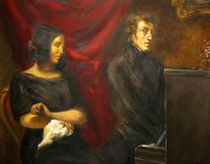 1837 preliminary sketch of Eugene Delacroix's joint portrait of Frédéric Chopin and George Sand