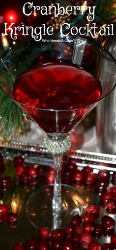 Cranberry Kringle Cocktail will be your new favorite holiday cocktail! Easy to make and full of holiday cheer! Perfect for parties! cocktails Cranberry Kringle Cocktail - Who Needs A Cape? Party Desserts, Party Drinks, Cocktail Drinks, Fun Drinks, Yummy Drinks, Alcoholic Drinks, Beverages, Party Recipes, Christmas Drinks