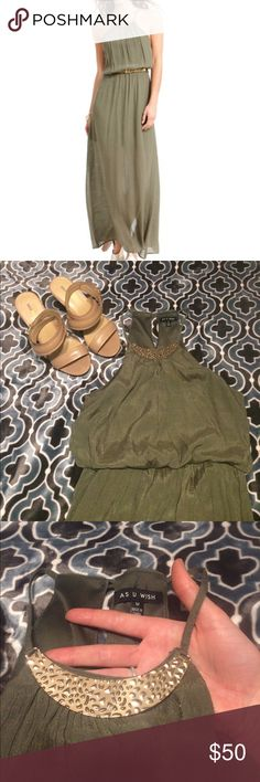 As U Wish olive maxi dress with slit size medium Gorgeous and elegant maxi dress- light material perfect for a spring or summer wedding! Cinched waist- does not come with belt. Gold neck detail. Racerback style. Slit up the back. Only flaws are that the belt is missing, the seam on the top back is a little stretched, and it is wrinkly! Lined to about mid thigh. Rayon poly blend. Wrinkles can be lightly steamed out! As U Wish Dresses Maxi