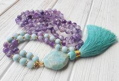 Pure Heart Mala Beads Amazonite & Amethyst Mala Beads 108