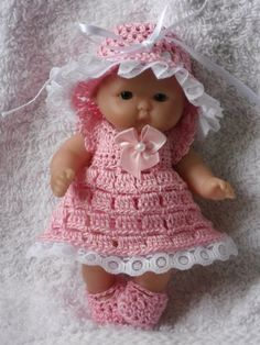 Crochet pattern for Berenguer 5 inch baby doll - dress, hat, knickers and shoes