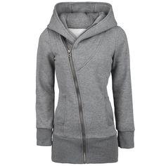 Casual Zipper Solid Color Plus Size Long Sleeves Hoodie For WomenSweatshirts & Hoodies | RoseGal.com