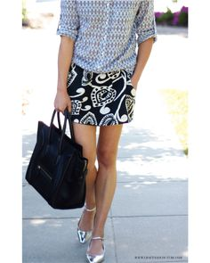 Style File: Thrifted Mixed Prints, celine luggage tote, chloe flats ~ Craft and Couture
