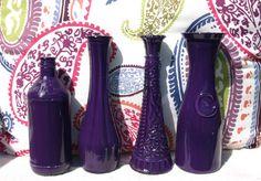 Deep Purple Glass Set of Four Vases, Bottles & Jars